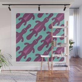 Platypus Convention - aqua and violet Wall Mural