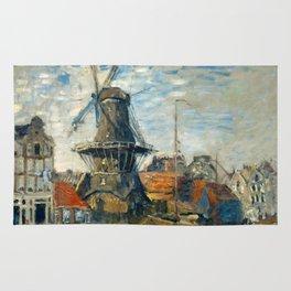 "Claude Monet ""The Windmill, Amsterdam"", 1871 Rug"