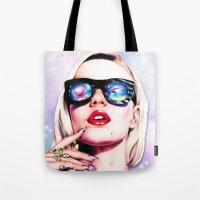 iggy azalea Tote Bags featuring Iggy Azalea- Pink/Purple by Tiffany Taimoorazy