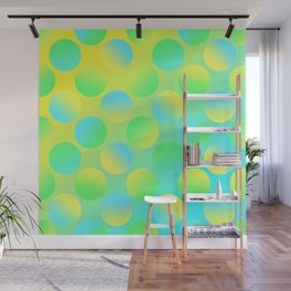 Gradient Polka Dots (Yellow and Green and Blue)! Wall Mural