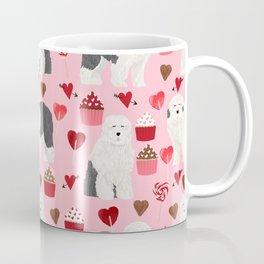 Old English Sheepdog valentines day hearts cupcakes pattern pet portrait dog art gifts love Coffee Mug