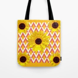 MODERN YELLOW SUNFLOWERS  GOLDEN ABSTRACT ART Tote Bag
