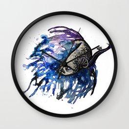 Galaxy Betta Fish Watercolor Wall Clock