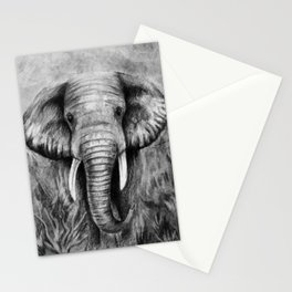 Charcoal Elephant Stationery Cards