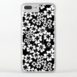 Floral black and white pattern Clear iPhone Case