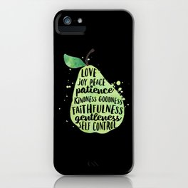 Watercolor pear | Fruit of the spirit | Green watercolor pear art print iPhone Case