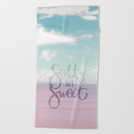 Salty but Sweet- Pink Summer Beach Sea Ocean Nature on #Society6 Beach Towel