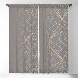 Charcoal Gold Geometric Pattern With Metallic Shimmer  Blackout Curtain