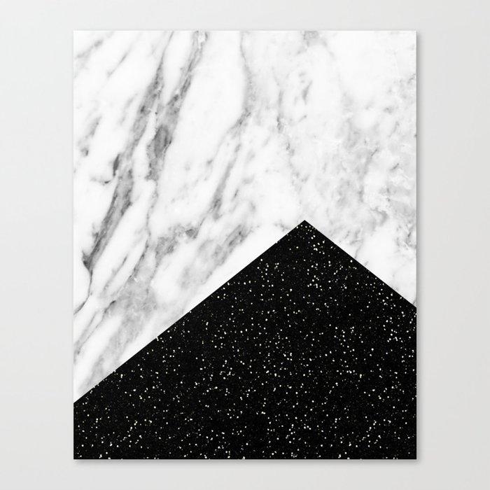 Ebony marble geo Canvas Print