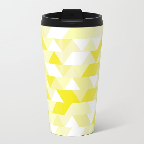 Simple Geometric Triangle Pattern- White on Yellow- Mix & Match with Simplicity of life Metal Travel Mug