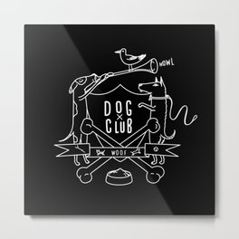 Dog Club B&W Metal Print