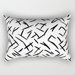 Modern abstract black hand painted brushstrokes Rectangular Pillow
