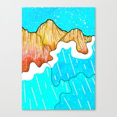 The cliff and the sea's waves Canvas Print