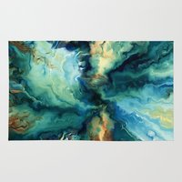 agate Area & Throw Rugs featuring Blue Agate by Kristiana Art Prints