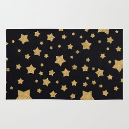 Gold Stars on BLack Rug