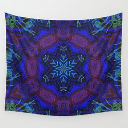 Bioluminescent Tribal Lotus Wall Tapestry