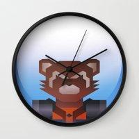 rocket raccoon Wall Clocks featuring Guardians of the Galaxy - Rocket Raccoon by Casa del Kables
