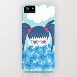 Geek Girl With Heart Shaped Eyes And Blue Flowers iPhone Case