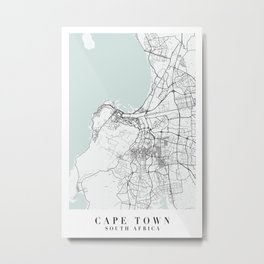 Cape Town South Africa Blue Water Street Map Metal Print
