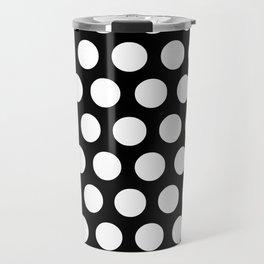 Black with White Polka Dots Travel Mug