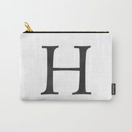 Letter H Initial Monogram Black and White Carry-All Pouch