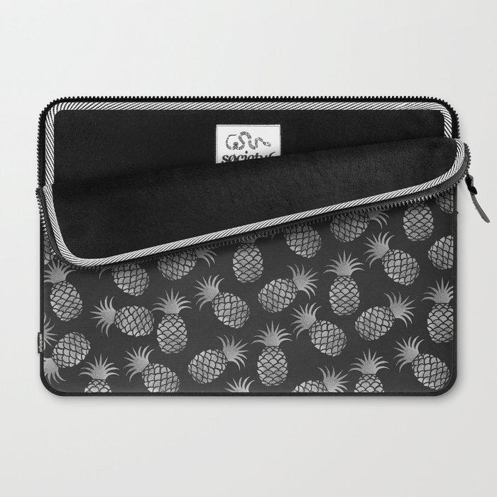 Tropical modern black gray pineapple fruit pattern Laptop Sleeve