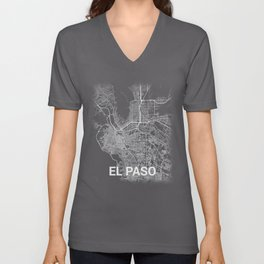 El Paso Texas TX City Map Tee Unisex V-Neck