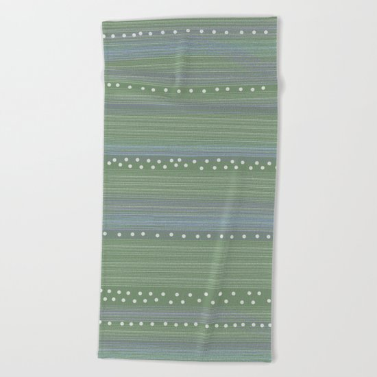 Green with Stripes and Dots Beach Towel