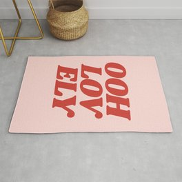 Ooh Lovely pink and red typography graphic design Rug