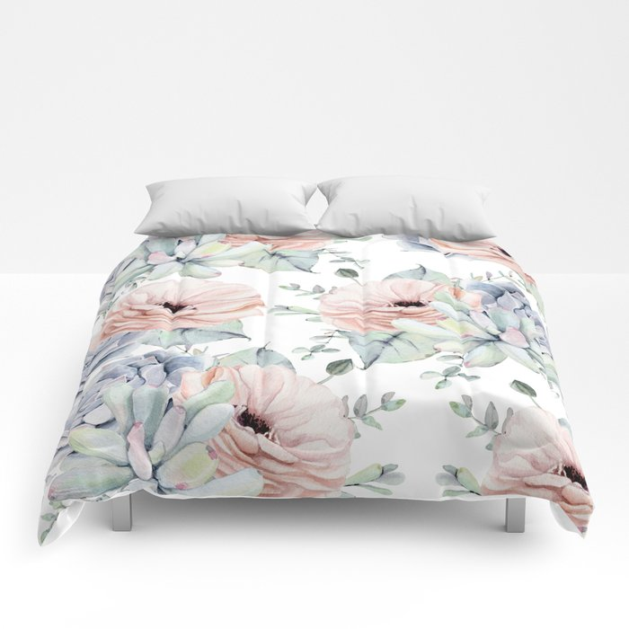 Pretty Succulents by Nature Magick Comforters