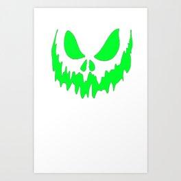 Scary Face Halloween Tshirt- Glow in the Dark Effect Print Art Print