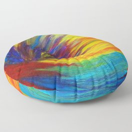 RAINBOW EXPLOSION - Vibrant Smile Happy Colorful Red Bright Blue Sunshine Yellow Abstract Painting  Floor Pillow
