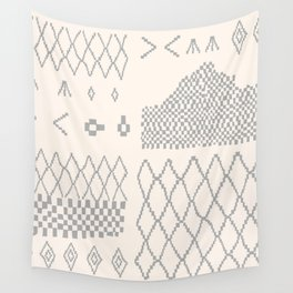 Moroccan Patchwork in Cream and Grey Wall Tapestry