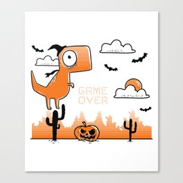 Funny Game Over Halloween Gamer Outfit for Costume Party Canvas Print
