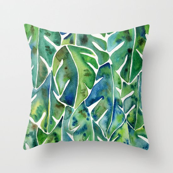 Split Leaf Philodendron – Green Throw Pillow