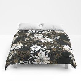 Modern black white faux gold elegant floral Comforters