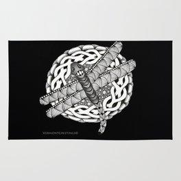 Zentangle Dragonfly Black and White Illustration Rug