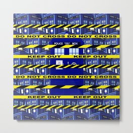 Yellow Line Tardis Metal Print