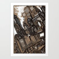 cityscape Art Prints featuring Cityscape by David Miley
