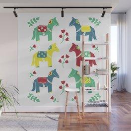 Scandinavian Horses Print Wall Mural