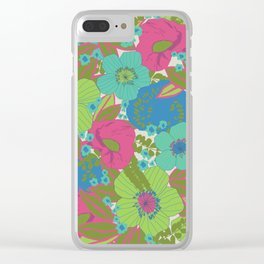 Green, Turquoise, Blue and Magenta Retro Floral Pattern Clear iPhone Case