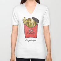 fries V-neck T-shirts featuring French Fries by Picomodi