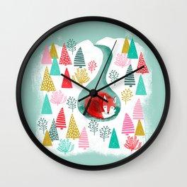 Winter's Fox by Andrea Lauren  Wall Clock