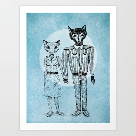 Fox and Wolf Art Print