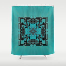 Turquoise Ornate Abstract Design Shower Curtain