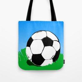 Soccer Ball In Grass Printmaking Art Tote Bag