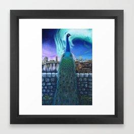 Peacock Under Northern Lights Framed Art Print