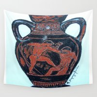 greek Wall Tapestries featuring Greek Amphora by Romantique Jardin