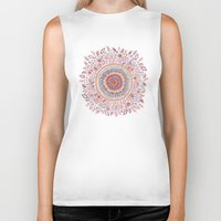 alice Biker Tanks featuring Sunflower Mandala by Janet Broxon