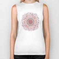 bohemian Biker Tanks featuring Sunflower Mandala by Janet Broxon
